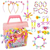 Pop Beads - 600+Pcs Pop Snap Beads Kit for Girls 3, 4, 5, 6, 7 ,8 Year Old to Make Hairband, Necklaces, Bracelets, Rings, Earrings, Girls Toys DIY Jewelry Making Kit for Christmas Birthday Gift