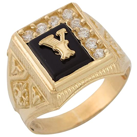 14ct Yellow Gold Black Onyx White CZ Accented Mens Classic Letter Y Initial Ring