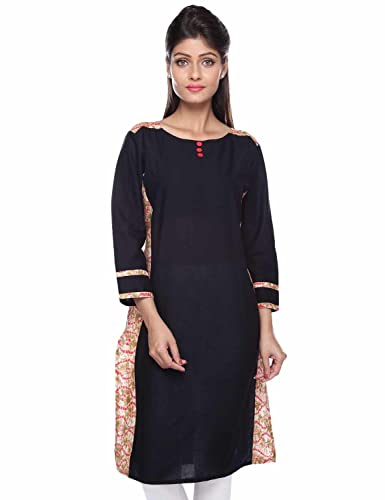 PINK ALMIRAH Women Melange Black Kurta available at Amazon for Rs.319