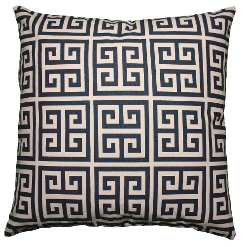 JinStyles Cotton Canvas Fret Accent Decorative Throw Pillow Cover (Navy Blue & Beige Square 1 ...