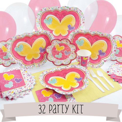 Party Kit Playful Butterfly And Flowers - 32 Person