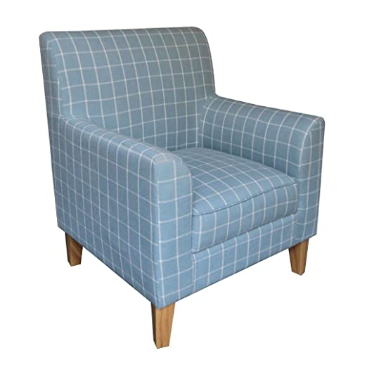 Protege Homeware Linen/Cotton Rubberwood (Hevea) Teal Check Woven Medan Chair