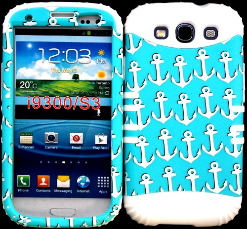 Hybrid Impact Rugged Cover Case Multiple Anchors On Baby Teal Pattern Hard Plastic Snap On White Silicon Skin For Samsung Galaxy Slll S3 Fits Sprint L710, Verizon I535, At&T I747, T-Mobile T999, Us Cellular R530, Metro Pcs And All front-665124