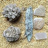 Crystal Healing Set 02 Kyanite Ulexite Calcite Desert Rose Pendulum