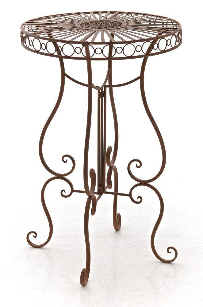CLP handgefertigter runder Eisen-Tisch SHIVA in nostalgischem Design, Durchmesser Ø 64 cm (aus bis zu 6 Farben wählen) antik braun günstig online kaufen