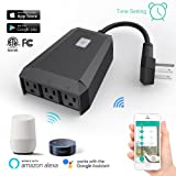 Smart Wifi Plug Mini Outlet Works with Alexa, 1 in 3 out Wireless Timer Switch IP44 Waterproof Intelligent Socket for Google Home Voice Control & APP Control (Color: Black, Tamaño: L130*W100*H39mm)