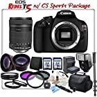 Canon EOS Rebel T5 Digital SLR Camera With Canon EF-S 18-135mm f/3.5-5.6 IS Lens & CS Sports Action Package: Includes HD Wide Angle Lens, Telephoto HD Lens, 3 Piece HD Filter Kit, 4 Piece Macro Close-Up Set, High Speed 16GB SDHC Memory Card, High Speed 8GB SDHC Memory Card, SD Card Reader, Memory Card Wallet, Canon LP-E10 Replacement Battery, Rapid Travel Charger With Car Adapter & EU Plugs, Shoe Mount Flash, Lens Cap Keeper, Soft Padded Carrying Case, Full Size Monopod, Brush Blower, Cleaning Kit, Lens Pen & CS Microfiber Cleaning Cloth