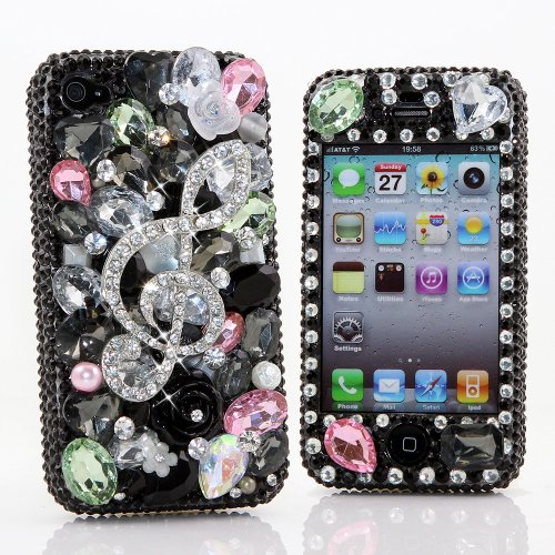 Best Price BlingAngels® 3D Luxury Bling iphone 5 5s Case Cover Faceplate Swarovski Crystals Diamond Sparkle bedazzled jeweled Design Front & Back Snap-on Hard Case + FREE Premium Quality Stylus and Water-Resistant Bag (100% Handcrafted by BlingAngels) (Music Note Design)
