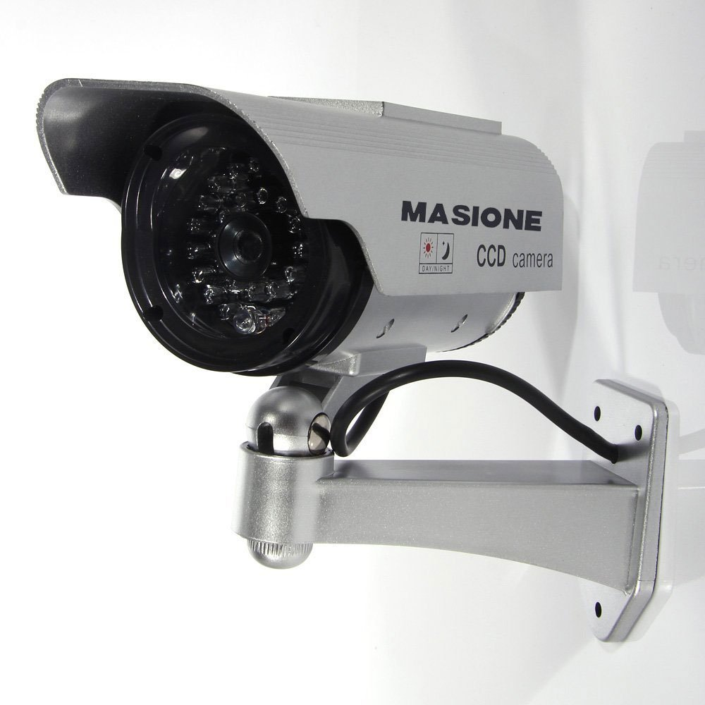 Masione Fake Security Camera - Heavy Duty - Night Vision Look - Solar Power