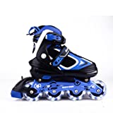 MammyGol Adjustable Inline Skates for Kids, Rollerblades Girls Boys with Light up Wheels Size 2-4 (Black & Blue) (Color: Blue, Tamaño: Medium(1-4US))