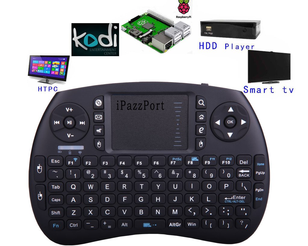 (Updated Version with Much Stronger Signal)iPazzPort Raspberry Pi Mini Wireless Handheld Remote Control Keyboard with Multi Touch Touchpad Work for Android and Google Smart TV XBMC KP-810-21S