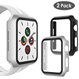 WD&CD (2 Pack) Case Compatible with Apple Watch Series 5 Series 4 44mm, Built-in Ultra Thin HD Tempered Glass Screen Protector Protective Cover Replacement for iwatch Series 5/4, Black & Silver (Color: Black & Silver)