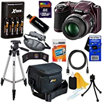 Nikon COOLPIX L820 16 MP CMOS Digital Camera with 30x Zoom Lens & HD Video - Plum (Import) + 4 AA High Capacity Batteries with Quick Charger + 11pc Bundle 32GB Deluxe Accessory Kit w/ HeroFiber® Ultra Gentle Cleaning Cloth
