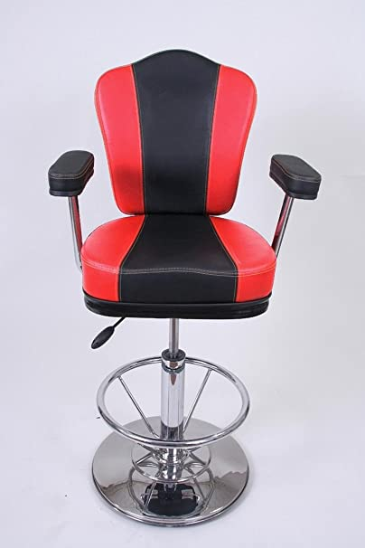 Barstools black/red Faux leather Auto return gas lift Swivel height adjustable upholstery