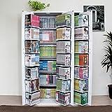 本棚 扉付き コミック638冊収納可能な書棚 便利 生活 収納ラックDVDラック CD・コミック書棚ストッカー収納庫 ホワイト