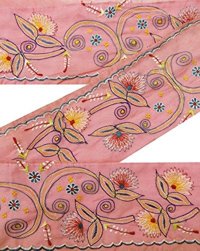 vintage-indian-sari-border-brodes-garniture-femmes-occasion-ruban-salmon-lace-1yd