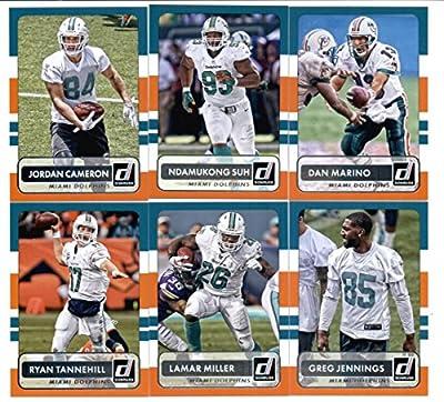 2015 Donruss Football Miami Dolphins Team Set of 6 Cards: Ryan Tannehill, Lamar Miller, Greg Jennings, Jordan Cameron, Ndamukong Suh, Dan Marino