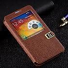 Samsung Galaxy Note 3 Case, Premium Smart View Leather Wallet Case for Samsung Galaxy Note 3 III N9000 Smartphone (Brown)