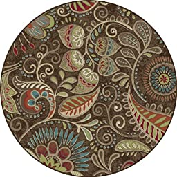 Universal Rugs Transitional Floral 5 ft. 3 in. Round Area Rug , Brown