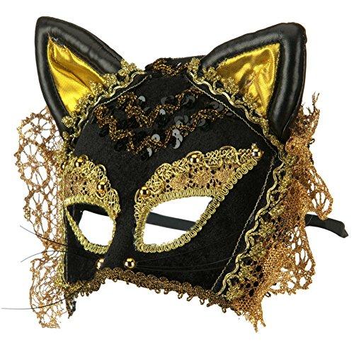 Masquerade Black & Gold Venetian Cat Mask