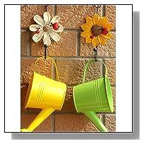 Rimobul Vintage Zakka Metal and Polyresin Art Flower Design Key / Hat / Cloth / Towel Hooks Wall Hanger (Set of 4)