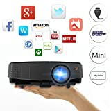 Smart Mini Portable Android Projector LED LCD Wireless Wifi Home Cinema Projector Support iPhone Android Phone Laptop Blueray DVD XBOX PS3 PS4 with Built-in Speakers HDMI USB VGA AV 3.5mm Audio (Color: Portable Wireless Projector(A3+A), Tamaño: Portable Wireless Projector(A3+A))