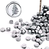 UNIQOOO Arts & Crafts 180 Pcs Metallic Silver Bottle Sealing Wax Beads Nuggets for Wax Seal Stamp, Great for Embellishment of Cards Envelopes, Wedding Invitations, Wine Packages, Gift Wrapping (Color: Metallic Silver)