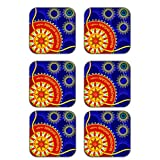 MeSleep Rakhi Wooden Coaster-Set Of 6 - B013LEMGG2