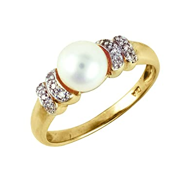 Ivy Gems 9ct Yellow Gold Chinese Freshwater Pearl and Diamond Ring