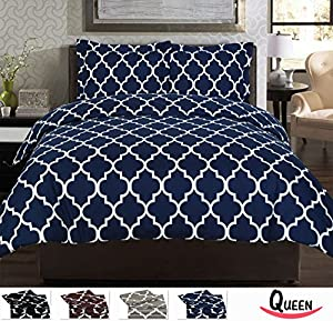 3 Piece Duvet Cover Set (Queen, Navy Blue) - 1 Duvet Cover + 2 Pillow Shams - Hotel Quality Brushed Velvety Microfiber - Luxurious, Comfortable, Breathable, Soft & Extremely Durable - Wrinkle & Fade Resistant - By Utopia Bedding