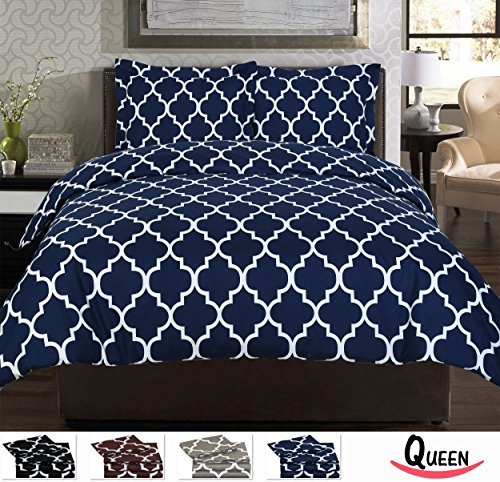 3 Piece Duvet Cover Set (Queen, Navy Blue) - 1 Duvet Cover + 2 Pillow Shams - Hotel Quality Brushed Velvety Microfiber - Luxurious, Comfortable, Breathable, Soft & Extremely Durable -By Utopia Bedding