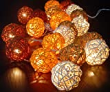 New-Solar-Powered-LED-Autumn-Browns-Rattan-Garden-Lantern-Fairy-Light-String-By-GLOWFROST-TM