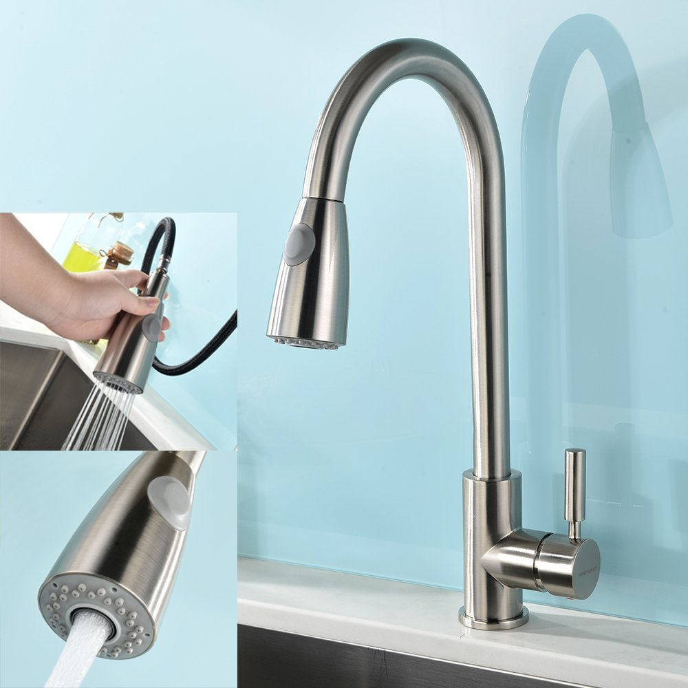 Modern Kitchen Sink Faucets: Modern Single Handle Stainless Steel Pull Out Spray