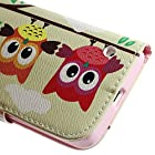 JUJEO Three Owls on Branch Leather Wallet Stand Case for Nokia Lumia 630/630 Dual SIM RM-978 - Non-Retail Packaging - Multi