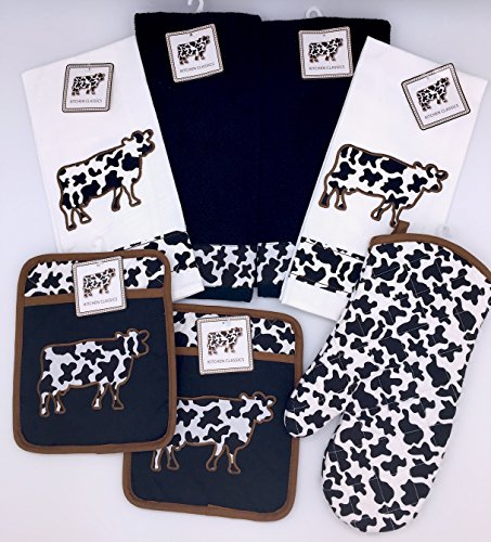 7 Pc. Black White Cow Kitchen Decor Set: 2 Black Kitchen Towels, 2 White Kitchen Towels, 2 Pot Holders, and 1 Oven Mitt (Cow Pot Holders And Oven Mitts compare prices)