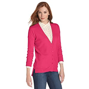 Christopher Fischer Women's 100% Cashmere Solid Boyfriend V-Neck Cardigan Sweater, Pop Pink, Large