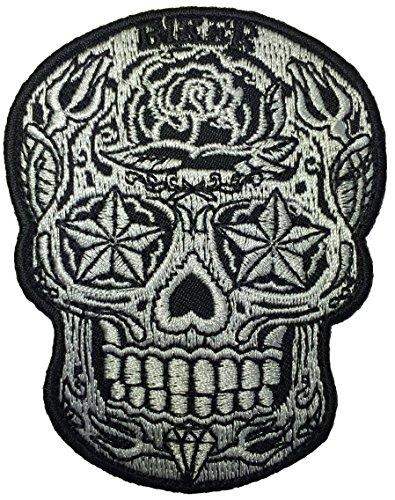 Live Love Ride Sugar Candy Skull Head Star Eyes Novelty Biker Jacket Embroidered Applique Emblem Badge Costume Sewing Iron on Patch (SKULL-STAR-EYES)