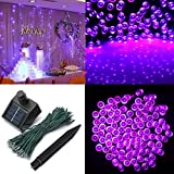 Audew Solar Powered Outdoor LED String Light, 55ft 17m 100 LED Solar Fairy String Lights for Patio, Garden, Christmas, Party, Wedding Purple