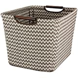 Household Essentials Tapered Storage Bin with Wood Handles, Medium, Brown Chevron