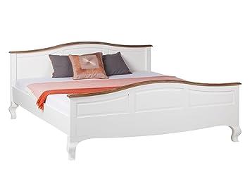 Landhaus Doppelbett 180x200 Akazie weiß teilmassiv Ehebett Bett Bettgestell
