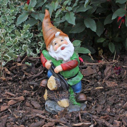 Traditonal Design Resin Garden Gnome Ornament with Saw