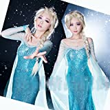 大人気!! ディズニー映画 アナと雪の女王 エルサ 女王 コスプレ 衣装 ドレス ウィッグ 髪飾り コスチューム SK (ドレス 女性M)