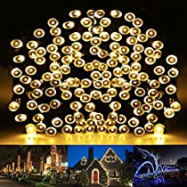 HDS-TEK HDS-WW-200 Decorative Solar Powered Christmas Lights 200 LED String Light for Garden, Lawn, Patio, Xmas Tree, Wedding, Party, Outside, Holiday, Indoor, Outdoor Decorations, Warm White