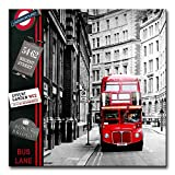 Canvas Print Wall Art Painting For Home Decor London Street Scene Of Classic Red London Bus England City Uk British Vintage Buildings In Black And White Paintings Modern Giclee Stretched And Framed Artwork The Picture For Living Room Decoration City Pictures Photo Prints On Canvas
