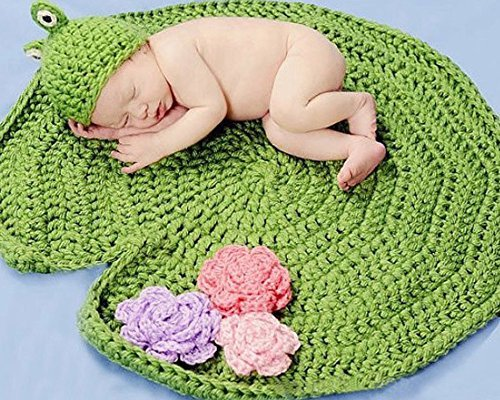 XMYM Newborn Frog Green Crochet Handmade Crochet Knitted Unisex Baby Cap Outfit Photo Props