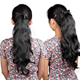 Black Wavy Ponytail Wig Hairpiece Hair Piece Long 52cm