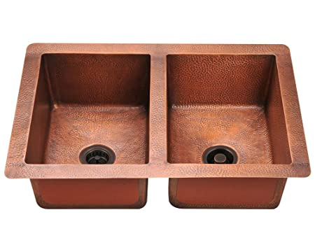 Polaris Sinks P209 Double Equal Bowl Copper Sink