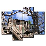 4 Piece Wall Art Painting Disney Disneyland Disneyland Island Treehouse Pictures Prints On Canvas Landscape The Picture Decor Oil For Home Modern Decoration Print