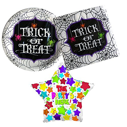Trick or Treat Spiderweb Halloween Party supplies, 12 guests, lunch plates and napkins plus bonus balloon