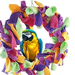 Purple Star Large 12 Inch Parrot Preening Ring Fluffy Swing Toy For Large Pet Birds such as Macaws Cockatoos African Grey Parrots
